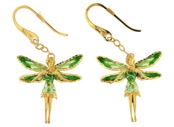 Ohrringe mit Feen Anhänger 2.5cm Grün in 925 Sterling Silber Vergoldet ZOR1154-MG