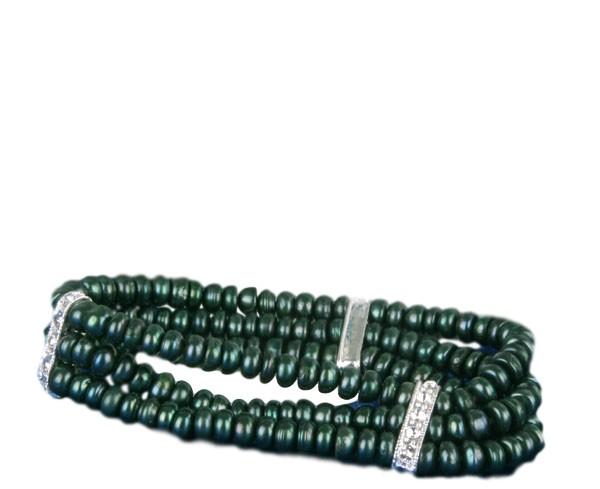 Echtes 3-reihiges Süsswasser Perlen Armband Grün mit Strass-Steinen A110