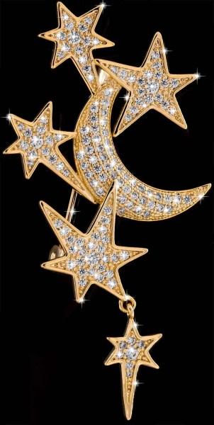 Brosche Mond und Sterne goldfarben mit vielen weissen Strass Steinen BR049