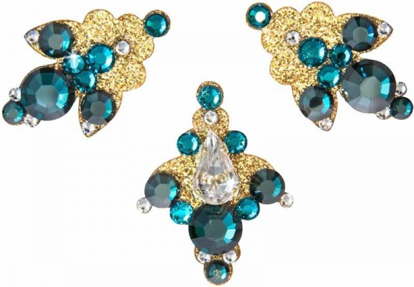 Venice 7 Gold-Grün 1016041DE Körperschmuck Swarovski Crystal Grün