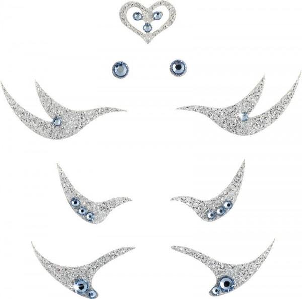 Glamour 3 Silber-Hellblau 1016064DE Körperschmuck Swarovski Crystal Blue