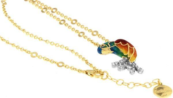 Halskette mit Papagei Blauer Ara Anhänger 3.0cm in 925 Sterling Silber Vergoldet mit Zirkonia ZCL114