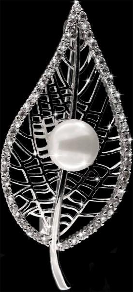 Brosche Blatt silberfarben mit einer Perle und vielen weissen Strass Steinen BR051