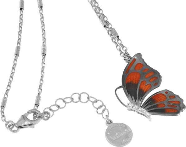 Halskette mit Schmetterling Anhänger 3.0cm orange in 925 Sterling Silber Rhodiniert mit Zirkonia ZCL