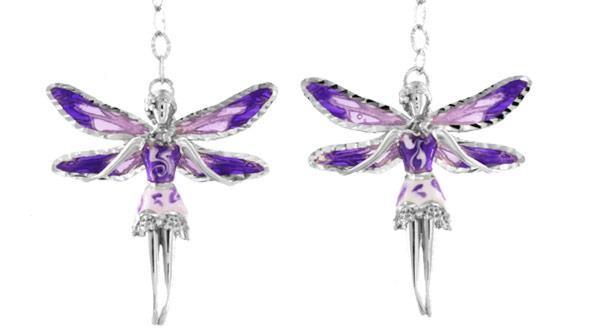 Ohrringe mit Feen Anhänger 2.5cm Violett in 925 Sterling Silber Rhondiert ZOR1155-MB