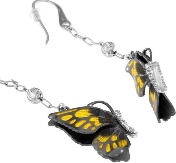 Ohrringe mit Schmetterling Anhänger 2.5cm Gelb in 925 Sterling Silber Rhondiert mit Zirkonia ZOR1053