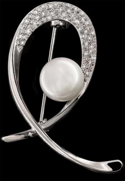 Brosche Schleife silberfarben mit Perle und vielen weissen Strass Steinen BR026
