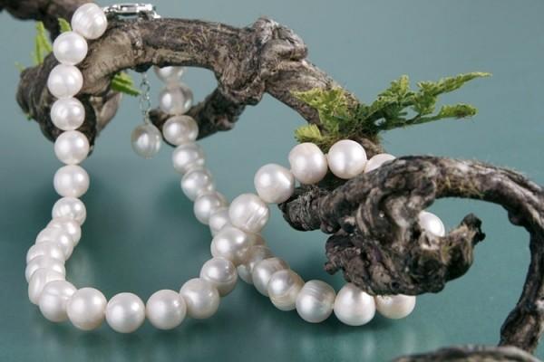 Verlängerbare Echte Zucht-Perlenkette P013 weiß 10mm verstellbar 44-50cm