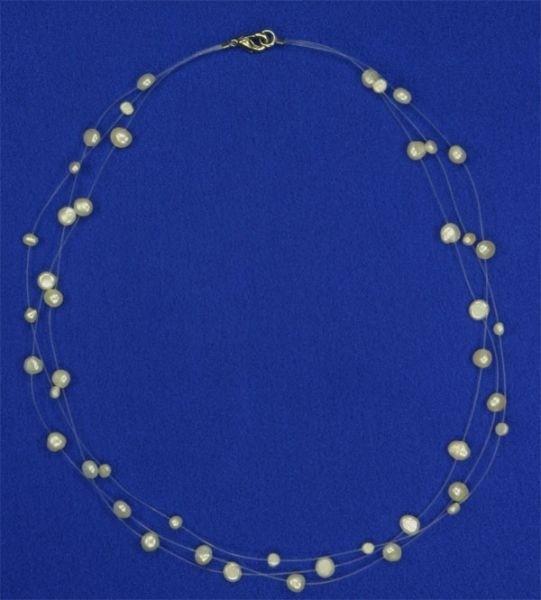 Süsswasser Perlenkette Filigran -Weiss- ca. 45cm Perlen schwebend auf Nylon NEU