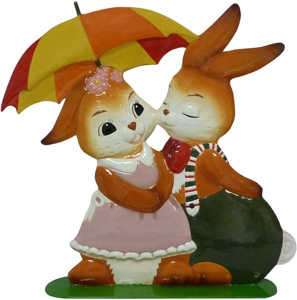 "Gartenstecker Hasenpaar - ""Frühlingsregen"" Goebel - Frülingsregen 35 cm"
