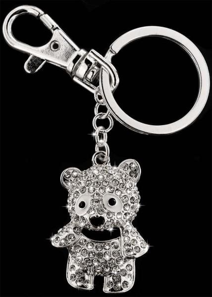 Anhänger Teddybär silberfarben mit vielen weissen Strass Steinen Schlüsselanhänger Taschenanhänger A