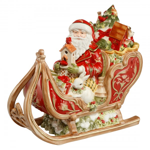"""Goebel Fitz and Floyd """"Santa auf Schlitten"""" Goebel 51001281 Weihnachten Steingut"""
