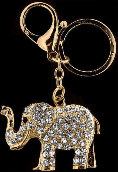 Anhänger Elefant goldfarben mit vielen weissen Strass Steinen Schlüsselanhänger Taschenanhänger AH09