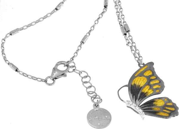 Halskette mit Schmetterling Anhänger 3.0cm gelb in 925 Sterling Silber Rhodiniert mit Zirkonia ZCL87