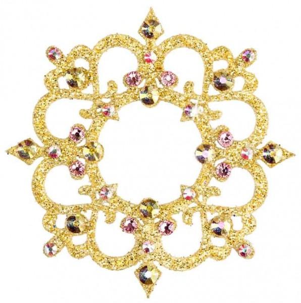 Rome 2 Gold-Rosa 1016014COM Svarowski Crystal Weiß-AB Pink Körperschmuck zum Aufkleben auf Haut und