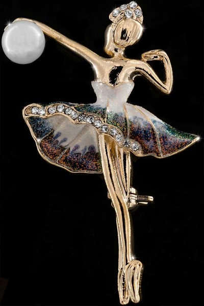 Brosche Tänzerin goldfarben mit Perle und vielen weissen Strass Steinen BR033