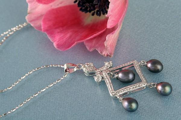 Perlencollier m. Staßsteinen P292 Violett Schwarz ca. 41cm Zucht Perlen 8mm Perlenkette