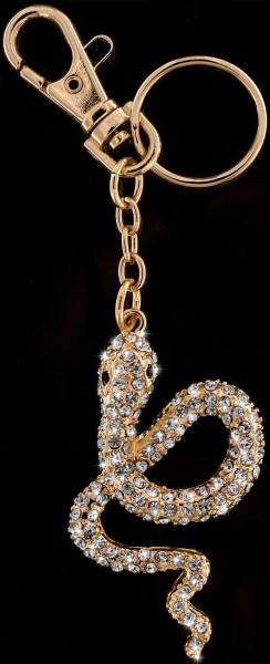 Anhänger Schlange goldfarben mit vielen weissen Strass Steinen Schlüsselanhänger Taschenanhänger AH0