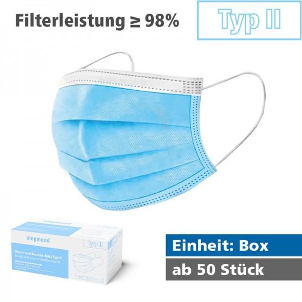 Medizinischer Mund- und Nasenschutz - Typ II (Box) MNS Typ II (Filterleistung mind. 98%)