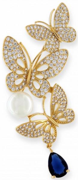 Brosche dreier Schmetterlinge goldfarben mit einer Perle, einem blauen und vielen weissen Strass Ste