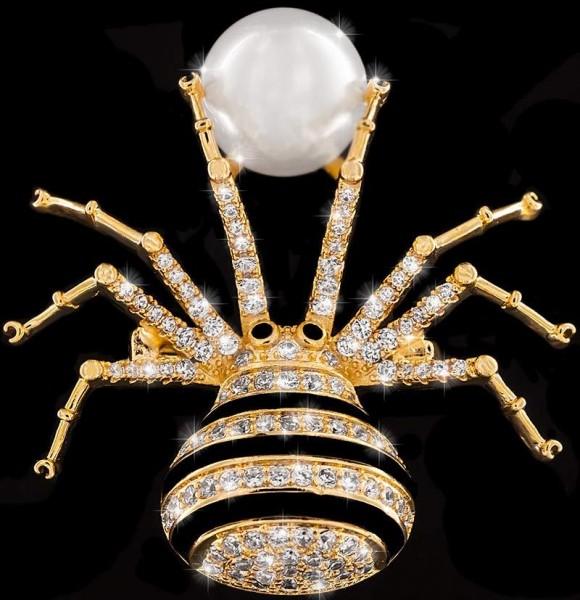 Brosche Spinne goldfarben mit einer Perle, schwarzen und vielen weissen Strass Steinen BR014