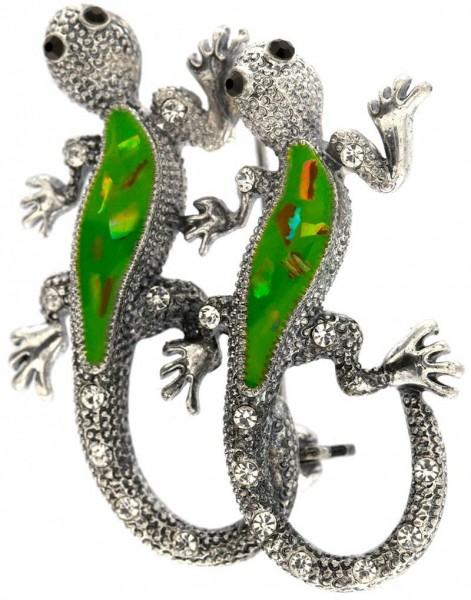 Brosche Gecko silberfarben mit weissen und schwarzen Strass Steinen BR009