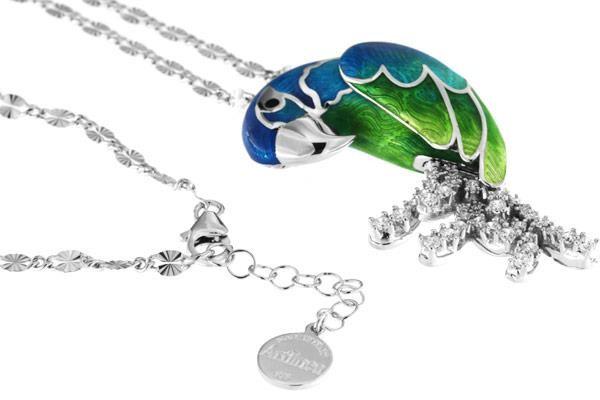Halskette mit Papagei Blauer Ara Anhänger 5.5cm in 925 Sterling Silber Rhondiert mit Zirkonia ZCL113