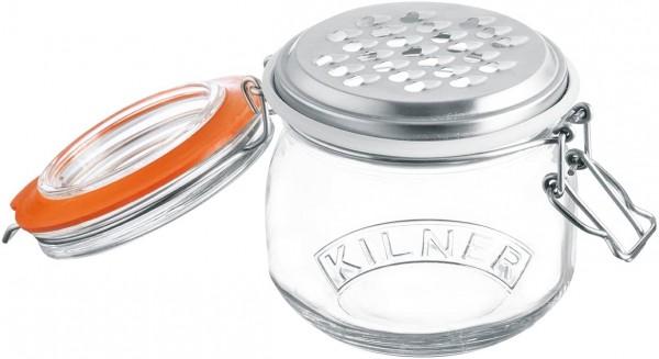 Kilner 0025.841 Reibenset-Edelstahlreibe mit Bügelverschluss Glas, 5 Liter Reibe, transparent
