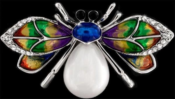 Brosche Käfer silberfarben mit einer Perle, schwarzen und vielen weissen Strass Steinen BR035