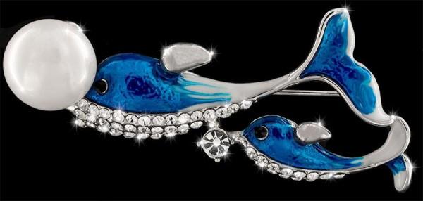 Brosche Delfine silberfarben mit Perle und vielen weissen Strass Steinen BR039