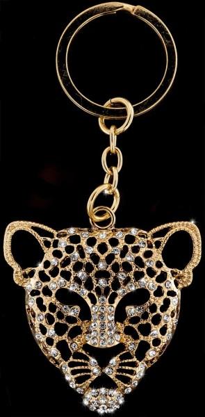 Anhänger Leopard goldfarben mit vielen weissen Strass Steinen Schlüsselanhänger Taschenanhänger AH02