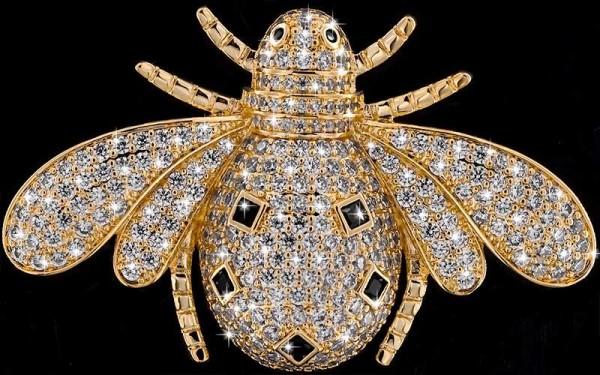Brosche Käfer goldfarben mit schwarzen und vielen weissen Strass Steinen BR058