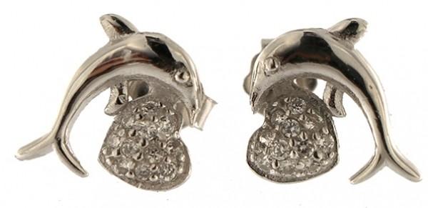 Ohrstecker Delphin Feinsilber 925 - 925 Sterling Silber - mit Strass Steinen