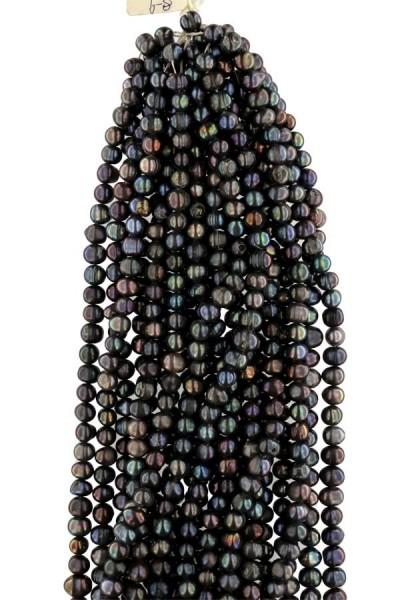 S210 Echter Süßwasser-Perlen-Strang rundliche Perlen 8-9mm 37cm offen Tahiti Black Violett
