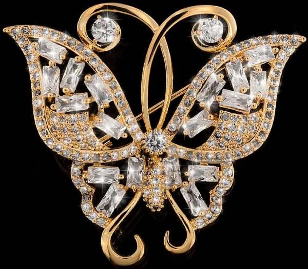 Brosche Schmetterling goldfarben und mit vielen weissen Strass Steinen BR023