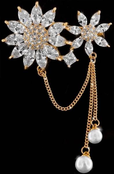 Brosche 2 Blüten goldfarben mit Perlen und vielen weissen Strass Steinen BR028