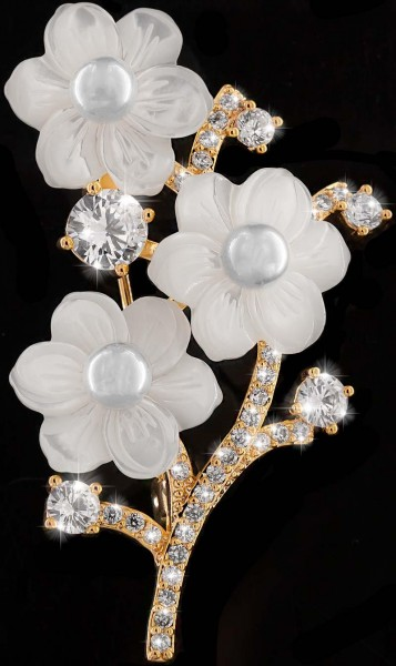 Brosche 3 Blüten Perlmut goldfarben mit 3 Perlen und vielen weissen Strass Steinen BR017