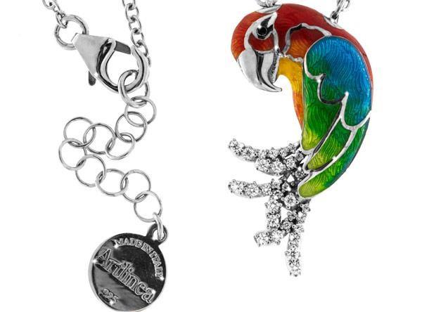 Halskette mit Papagei Hellroter Ara Anhänger 3.0cm in 925 Sterling Silber Rhodiniert mit Zirkonia ZC
