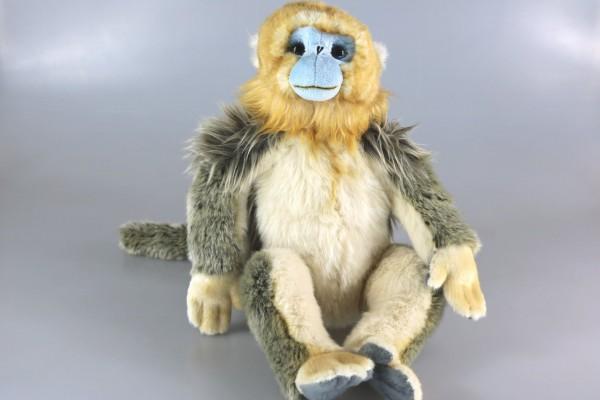 Wollis D3043 - Affe - Goldstumpfnase sitzend 30 cm Golden Snub-nosed Monkey von Unitoys, Plüschhund,