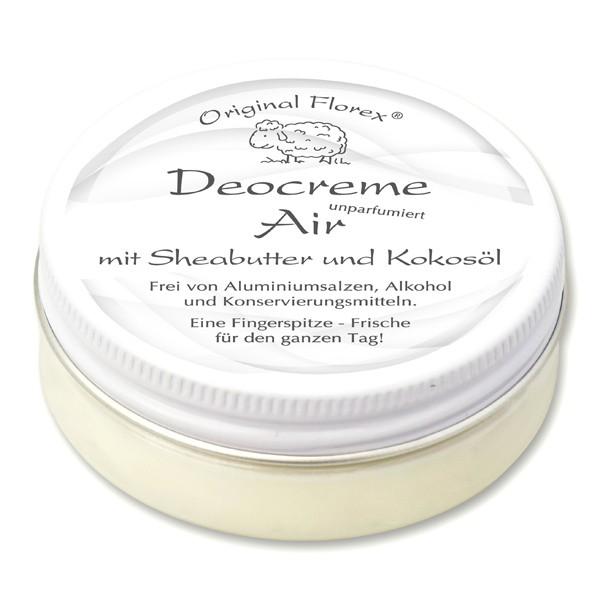Florex Deocreme 3*40ml Air unparfumiert- mit mit Sheabutter, Kokosöl, Kakaobutter, Mandelöl, Zink oh