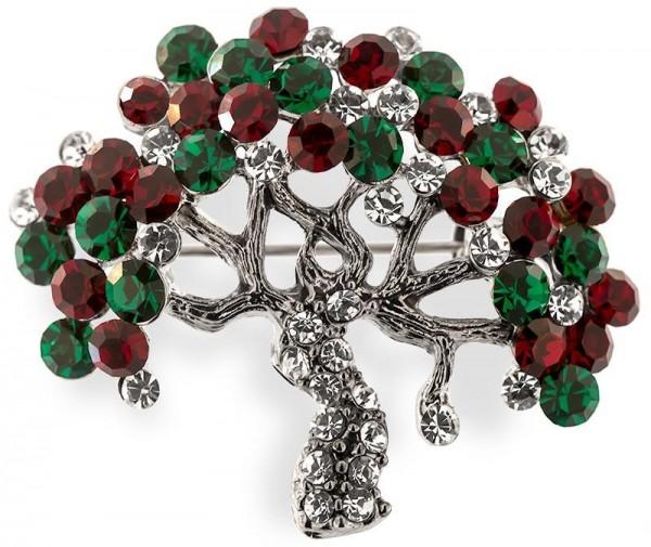 Brosche Baum silberfarben mit grünen und roten Strass Steinen BR007