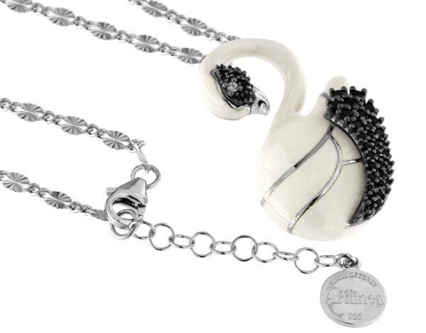 Halskette mit Schwan Anhänger 4.0cm White in 925 Sterling Silber Rhondiert mit Zirkonia ZCL1149-ML