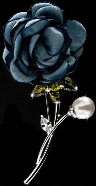 Brosche Rose silberfarben mit einer Perle, gelben und weissen Strass Steinen BR053