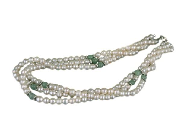Zucht-Perlen-Collier P904 3-reihig weiß mit Jade Perlencollier 44cm NEU