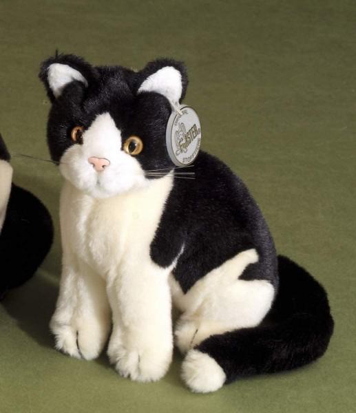 Förster Stofftiere 3476 Katze schwarz/weiß sitzend Mini 16cm