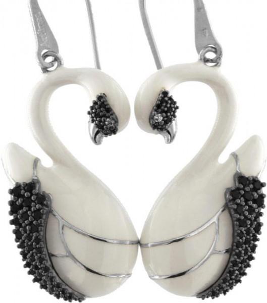Ohrringe mit Schwan Anhänger 3.0cm White in 925 Sterling Silber Rhondiert mit Zirkonia ZOR1149-ML