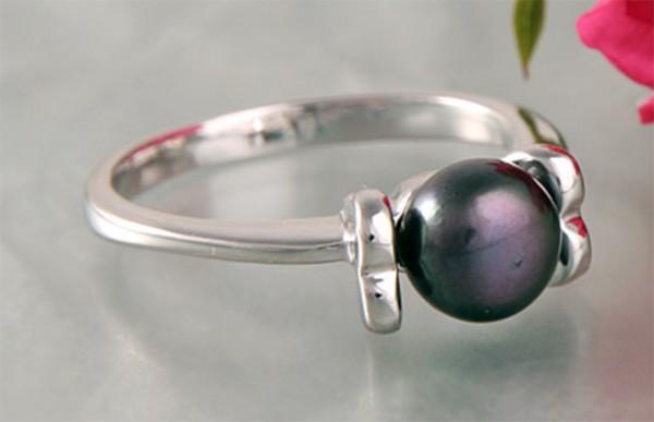 Damen Ring Perlenring 1 Perle ca. 6-7mm, Schwarze, handgearbeitet, versilbert, rhodiniert P223