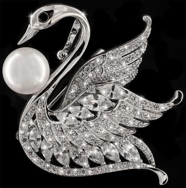 Brosche Schwan silberfarben mit einer Perle, schwarzen und vielen weissen Strass Steinen BR038