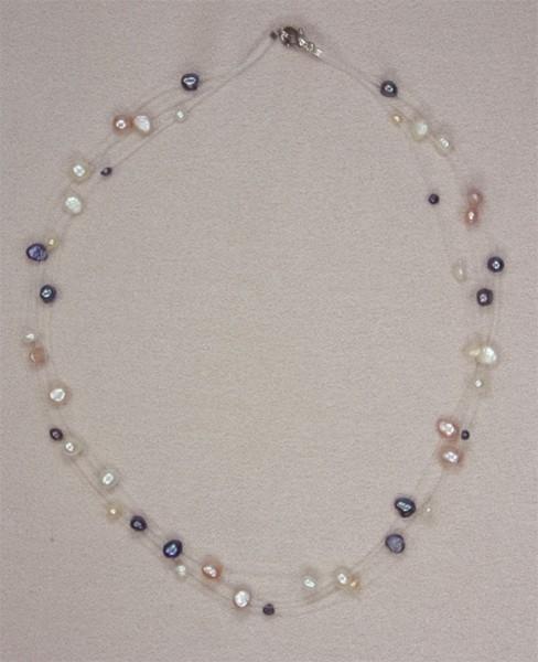 Süsswasser Filigran -Bunt- ca. 45cm Perlen schwebend auf Nylon
