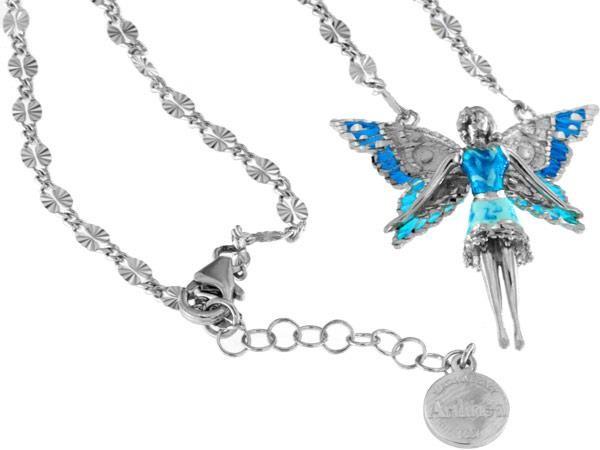 Halskette mit Feen Anhänger 3.5cm Blue in 925 Sterling Silber Rhodiniert mit Zirkonia ZCL1129-MB